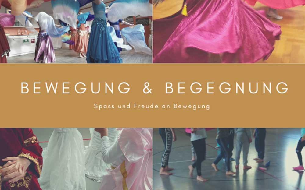 Die Vorderseite des Flyers von Manuela Krah mit vier verschiedenen Tanzbildern. In der Mitte ein markanter brauner Balken mit dem Text «Bewegung & Begegnung»