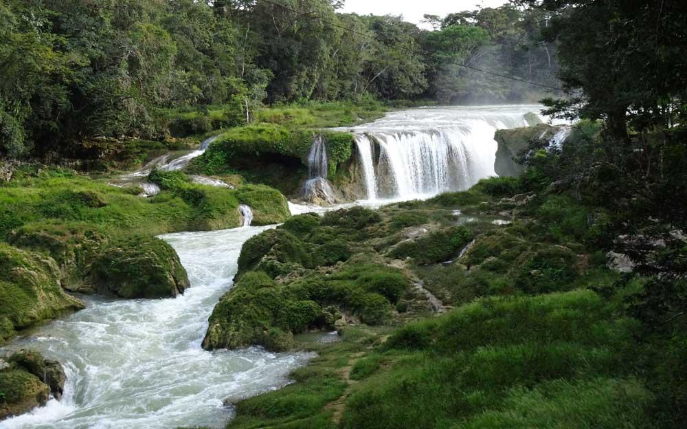 Ein Bach schlängelt sich durch eine grüne Landschaft und fällt dabei auch über eine grosse Stufe, die den Charakter eines Wasserfalls hat.