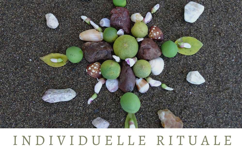 Ein von der Energietherapeutin Manuela Krah gelegtes Mandala mit Blättern, Früchten und Steinen auf einem schwarzen Untergrund.