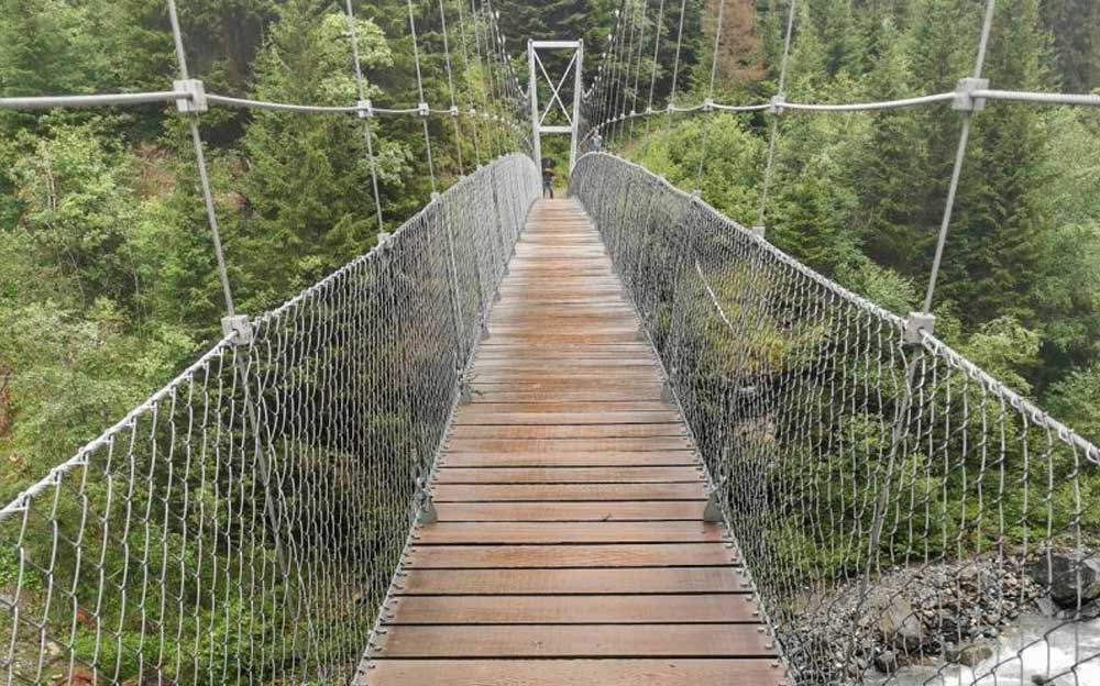 Eine Holzbrücke über einem steinigen Bach führt auf der anderen Seite in einen grünen Wald.