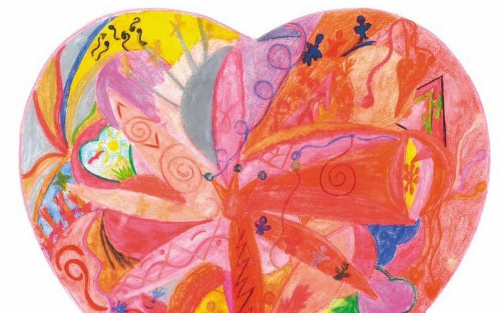 Gemaltes Herz gefüllt mit vielen Farben und Formen.